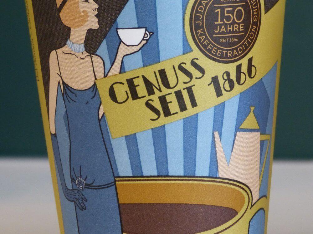 Kaffeebecher aus Pappe mit Werbeaufdruck