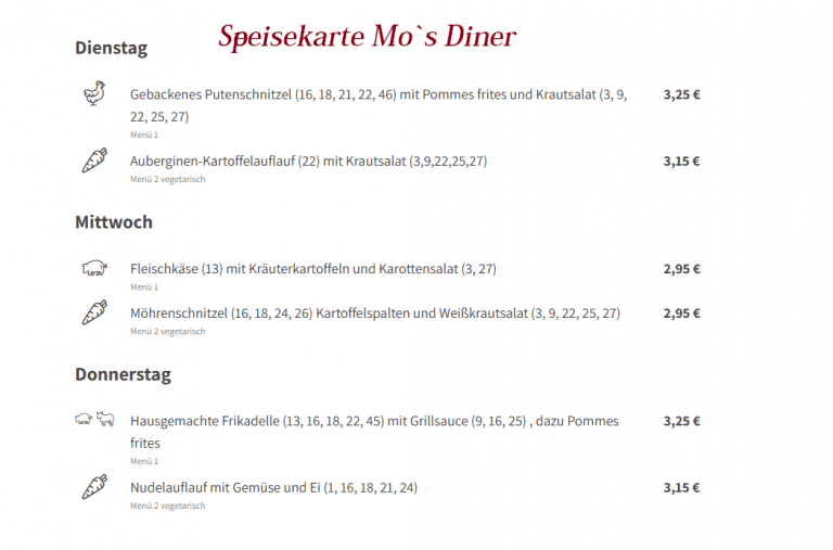 Speisekarte Mo´s Diner